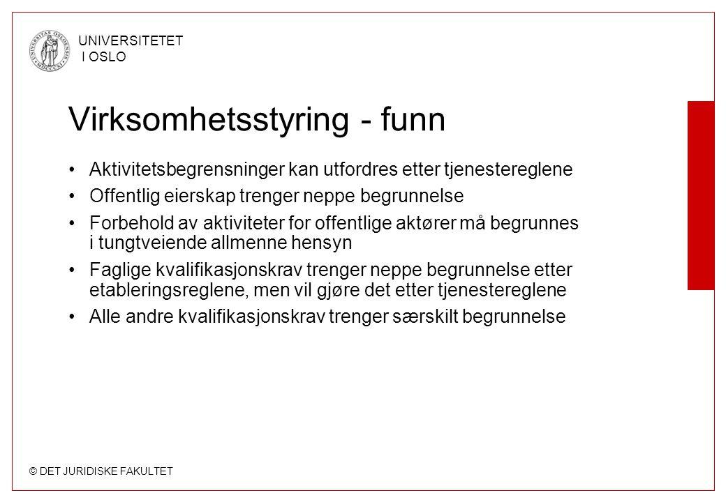 Virksomhetsstyring - funn