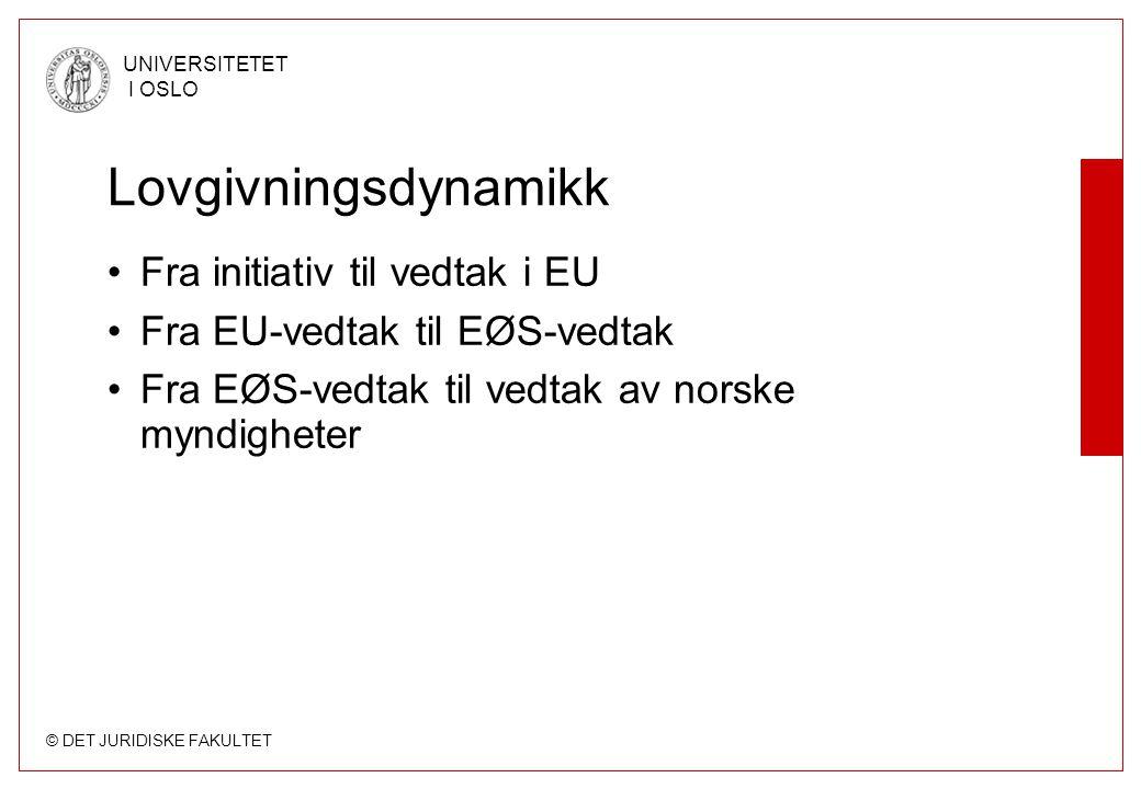 Lovgivningsdynamikk Fra initiativ til vedtak i EU