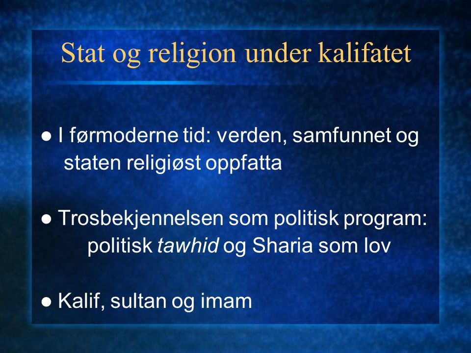 Stat og religion under kalifatet