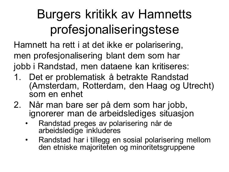 Burgers kritikk av Hamnetts profesjonaliseringstese