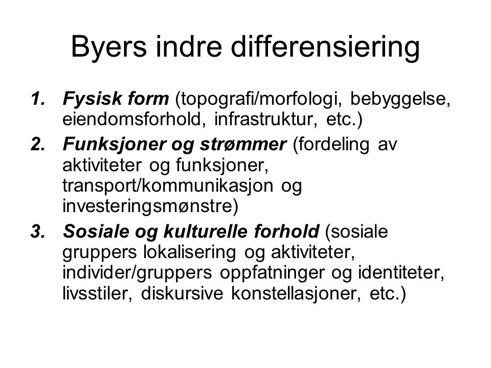 Byers indre differensiering