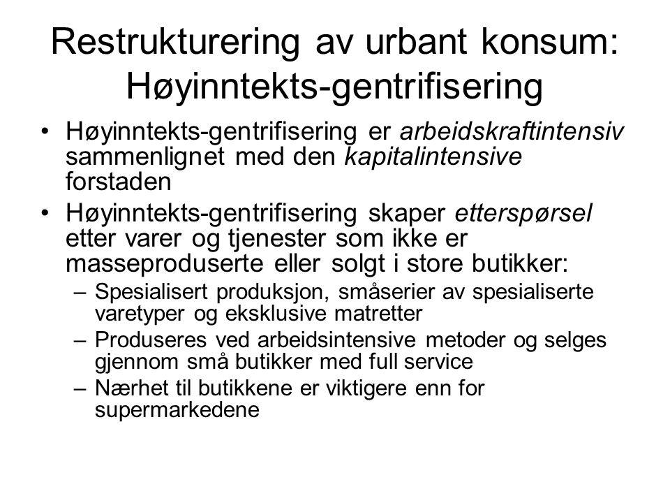 Restrukturering av urbant konsum: Høyinntekts-gentrifisering
