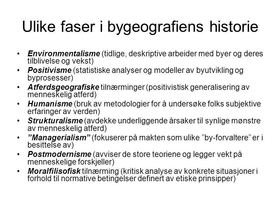 Ulike faser i bygeografiens historie