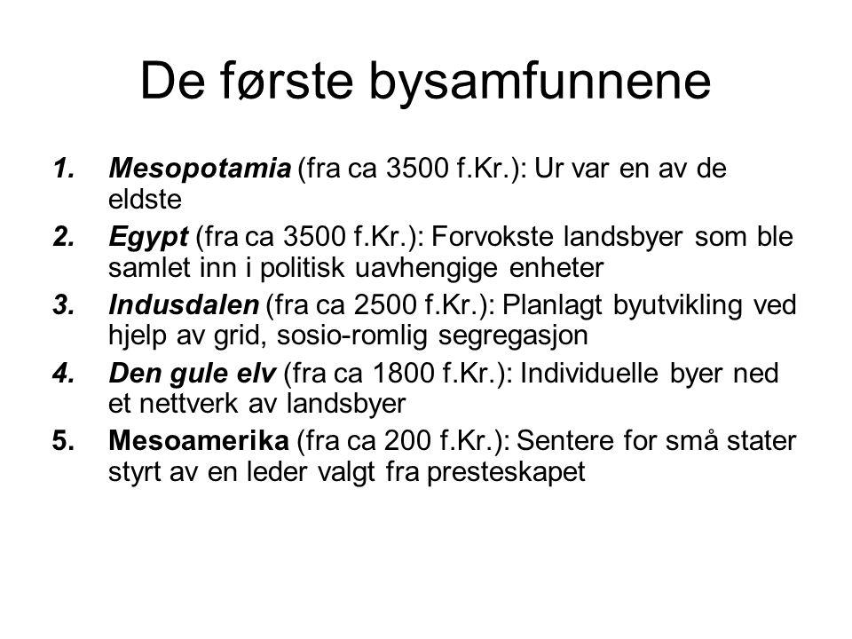 De første bysamfunnene