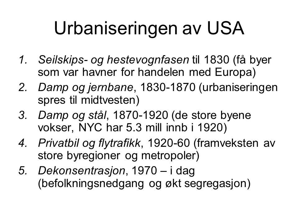 Urbaniseringen av USA Seilskips- og hestevognfasen til 1830 (få byer som var havner for handelen med Europa)