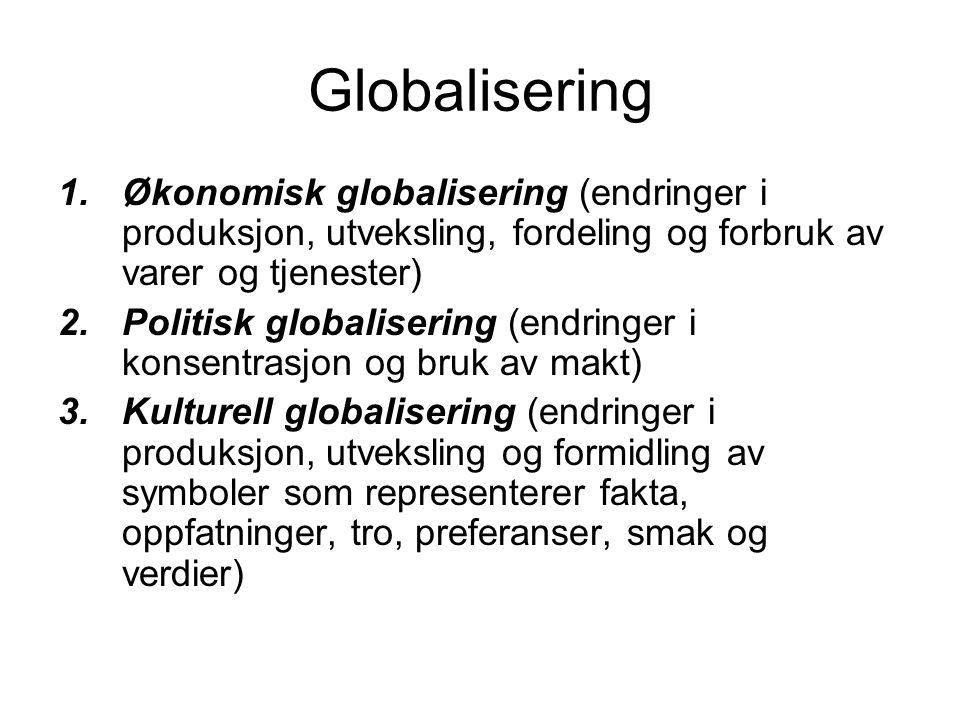 Globalisering Økonomisk globalisering (endringer i produksjon, utveksling, fordeling og forbruk av varer og tjenester)