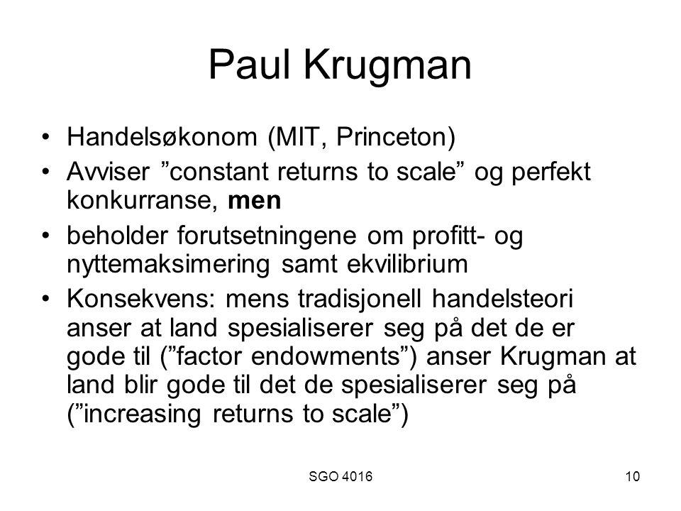 Paul Krugman Handelsøkonom (MIT, Princeton)
