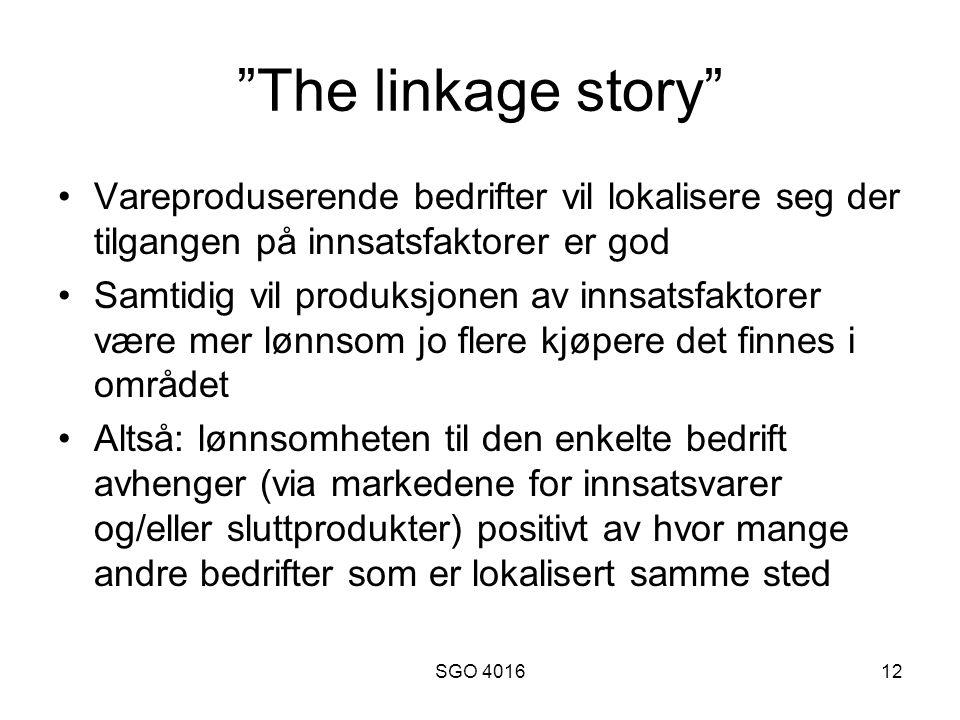 The linkage story Vareproduserende bedrifter vil lokalisere seg der tilgangen på innsatsfaktorer er god.