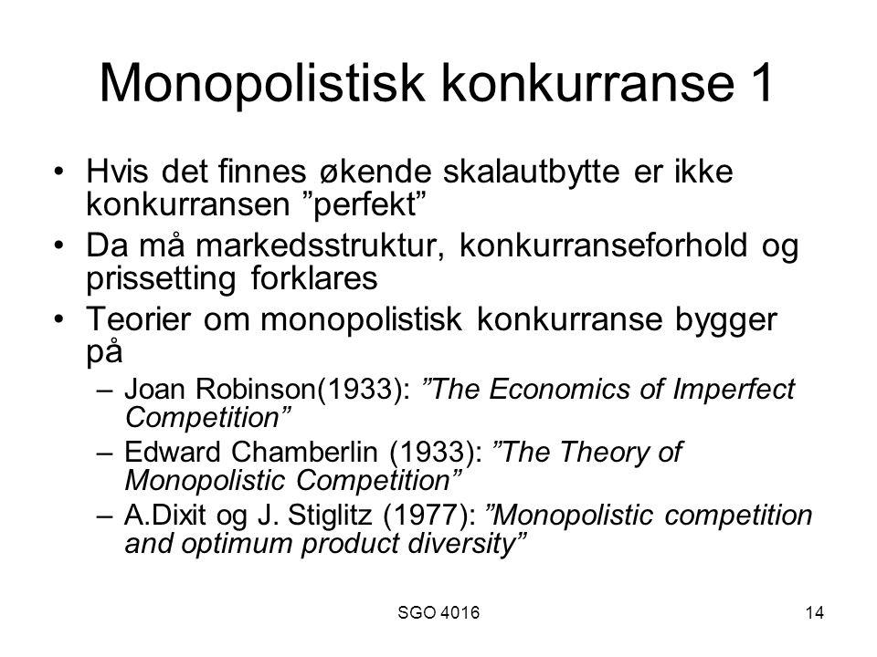 Monopolistisk konkurranse 1