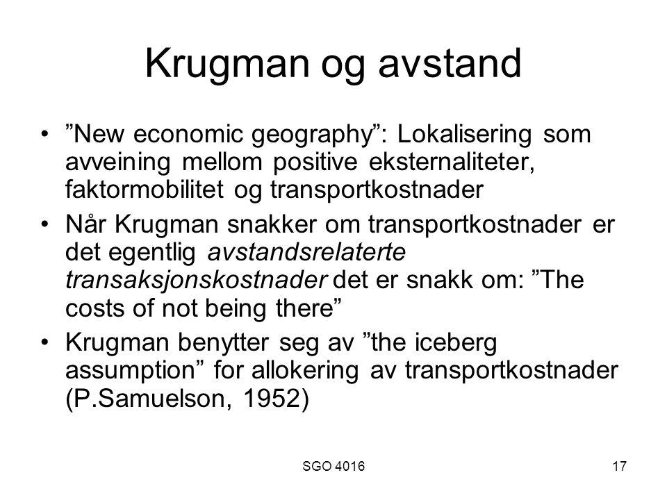 Krugman og avstand New economic geography : Lokalisering som avveining mellom positive eksternaliteter, faktormobilitet og transportkostnader.