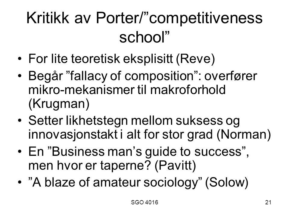 Kritikk av Porter/ competitiveness school