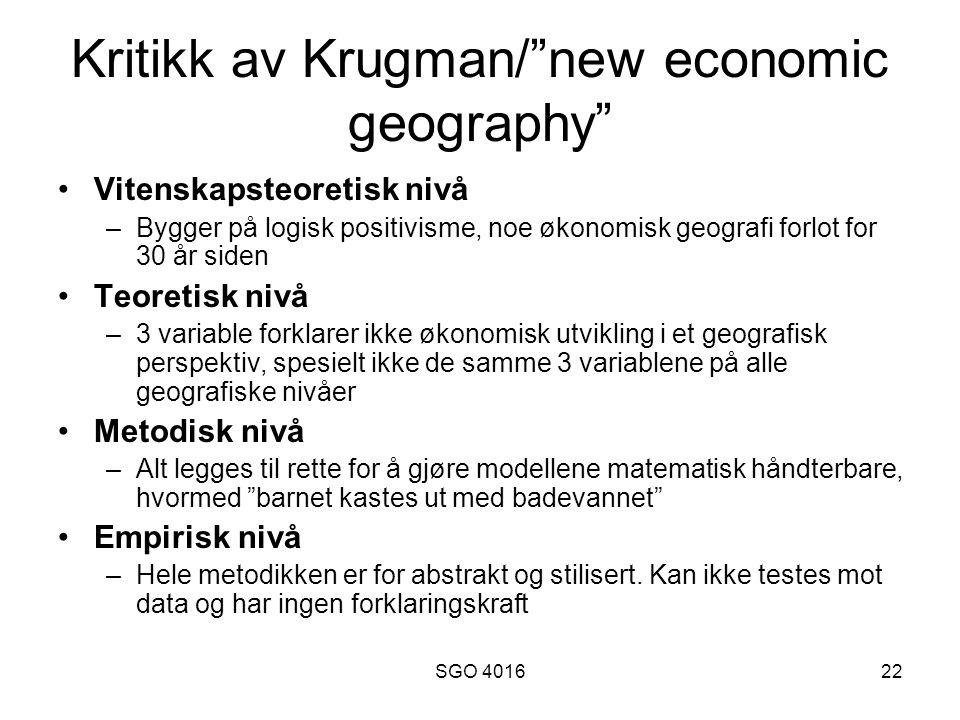 Kritikk av Krugman/ new economic geography