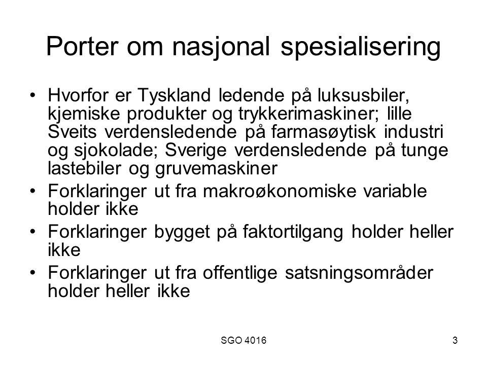 Porter om nasjonal spesialisering
