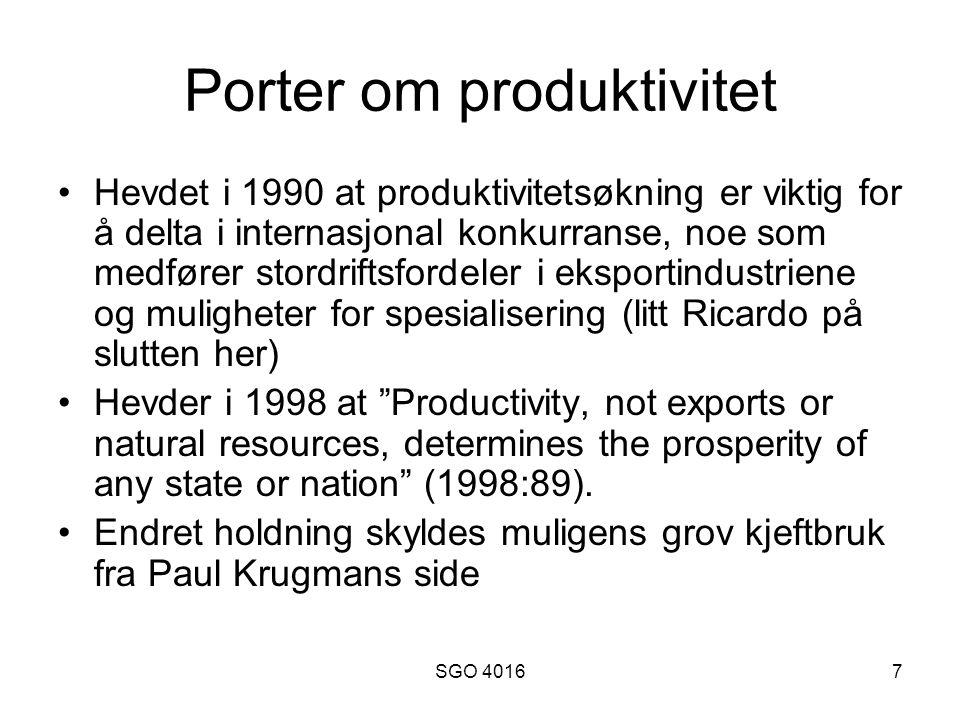 Porter om produktivitet