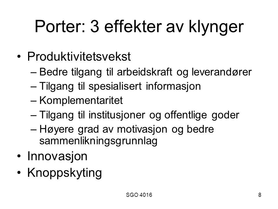 Porter: 3 effekter av klynger