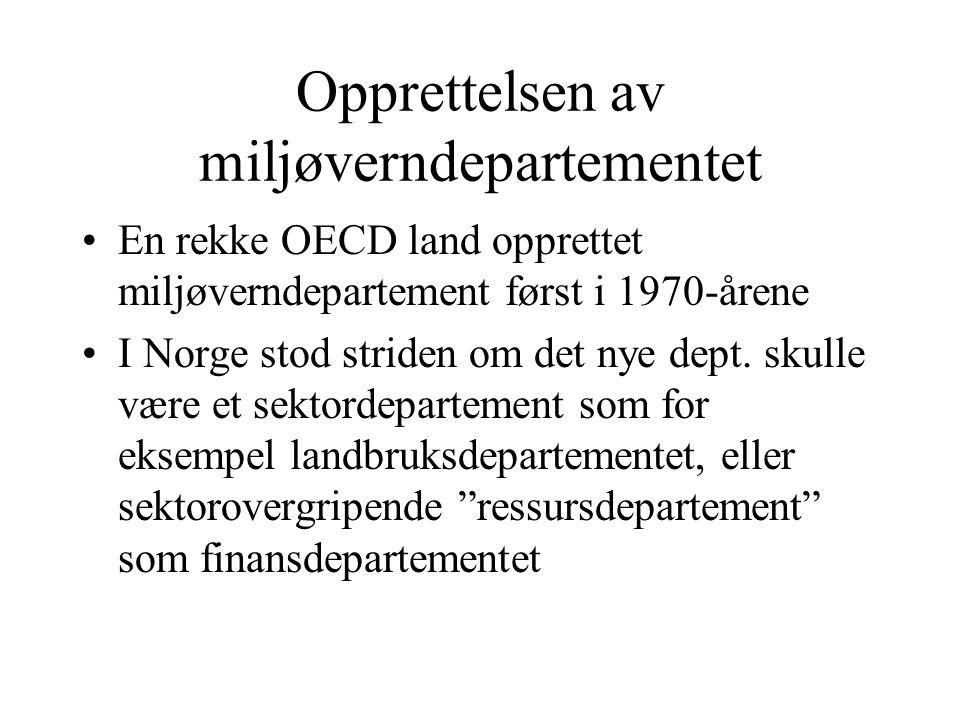 Opprettelsen av miljøverndepartementet