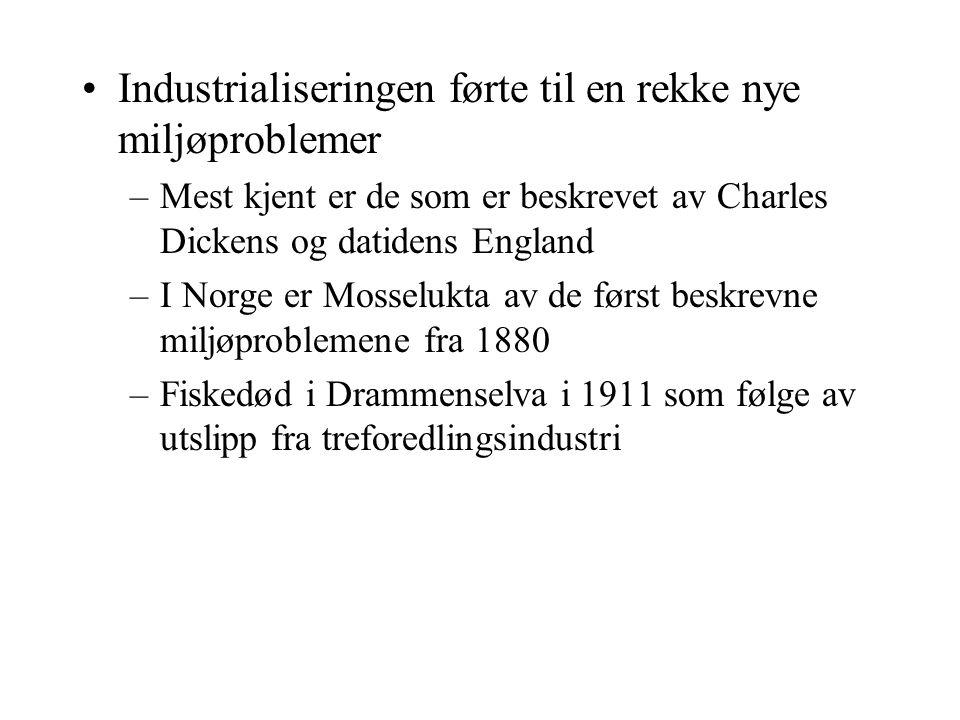 Industrialiseringen førte til en rekke nye miljøproblemer