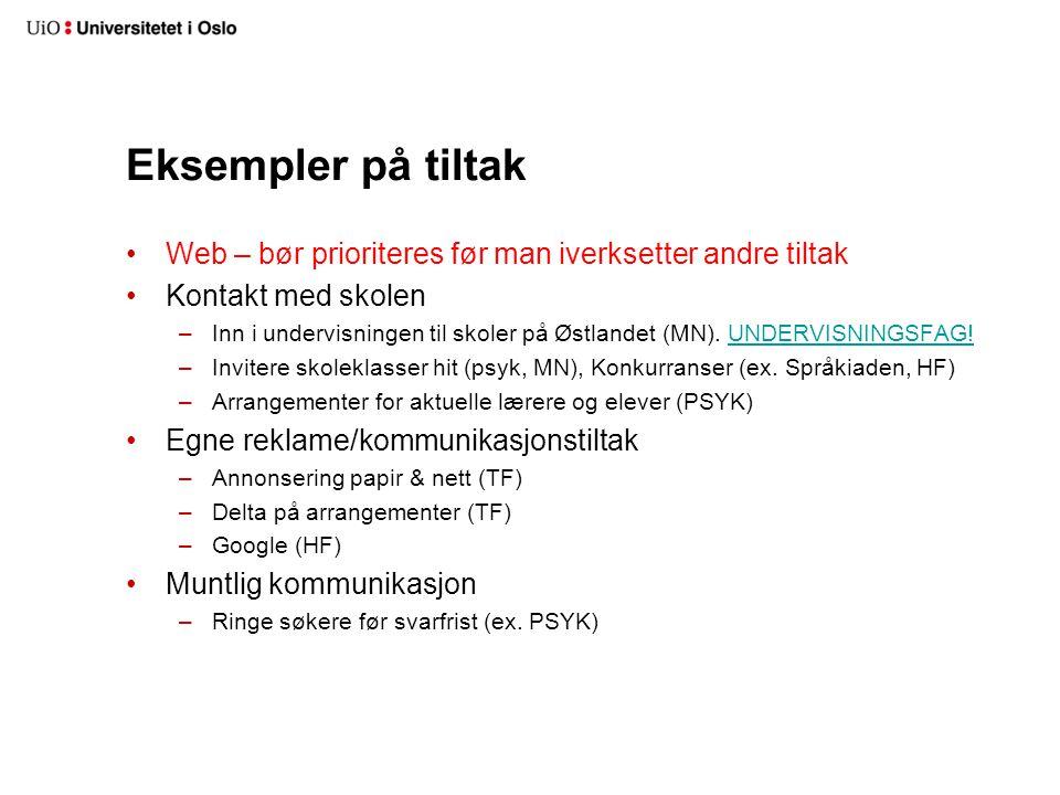 Eksempler på tiltak Web – bør prioriteres før man iverksetter andre tiltak. Kontakt med skolen.