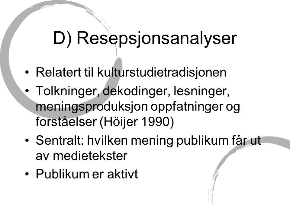 D) Resepsjonsanalyser