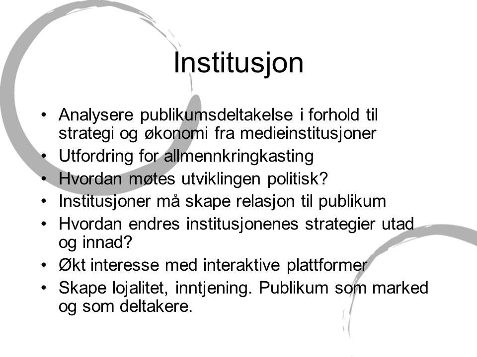 Institusjon Analysere publikumsdeltakelse i forhold til strategi og økonomi fra medieinstitusjoner.