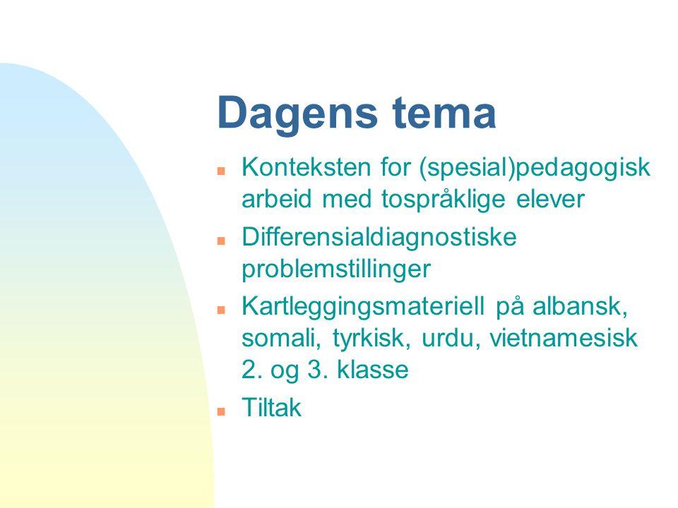 Dagens tema Konteksten for (spesial)pedagogisk arbeid med tospråklige elever. Differensialdiagnostiske problemstillinger.