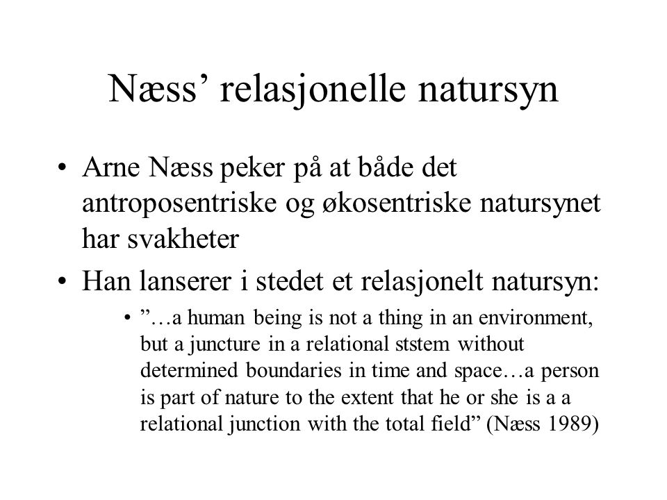 Næss' relasjonelle natursyn