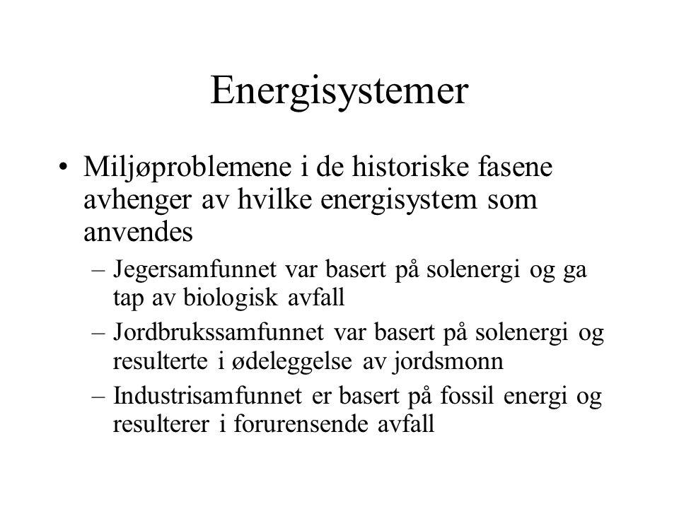 Energisystemer Miljøproblemene i de historiske fasene avhenger av hvilke energisystem som anvendes.