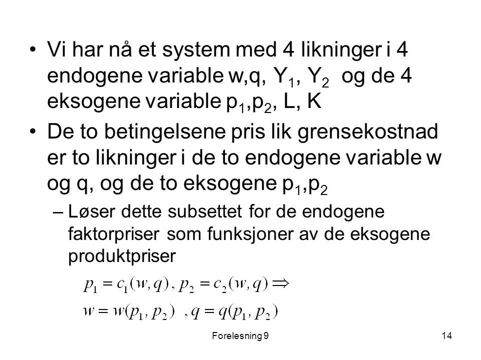 Vi har nå et system med 4 likninger i 4 endogene variable w,q, Y1, Y2 og de 4 eksogene variable p1,p2, L, K