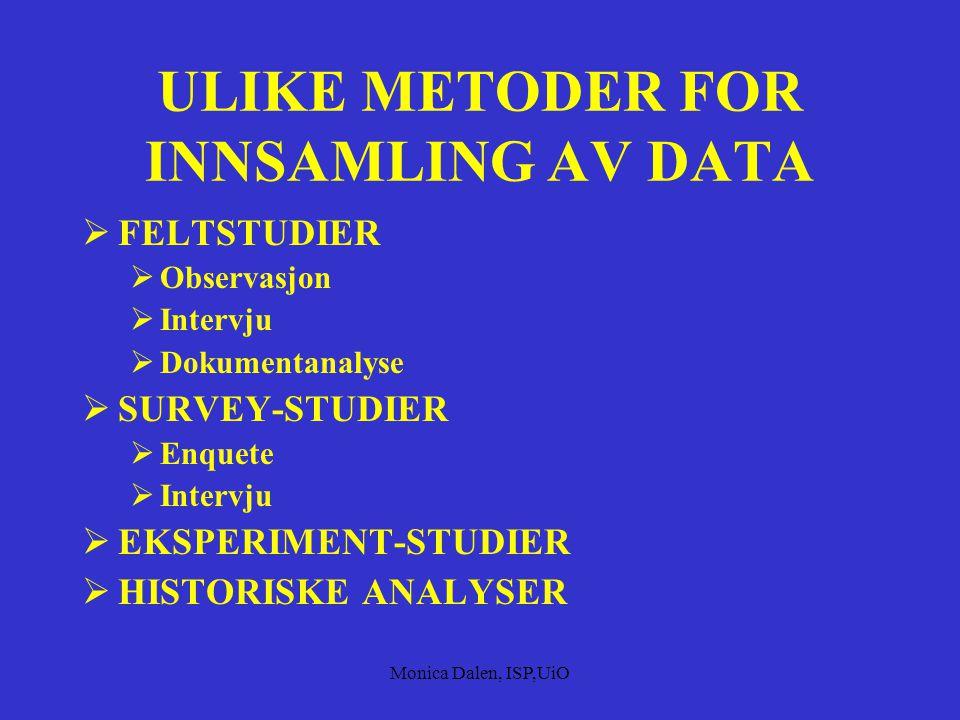 ULIKE METODER FOR INNSAMLING AV DATA