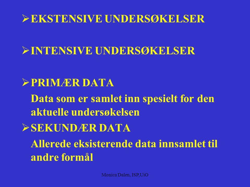 EKSTENSIVE UNDERSØKELSER INTENSIVE UNDERSØKELSER PRIMÆR DATA