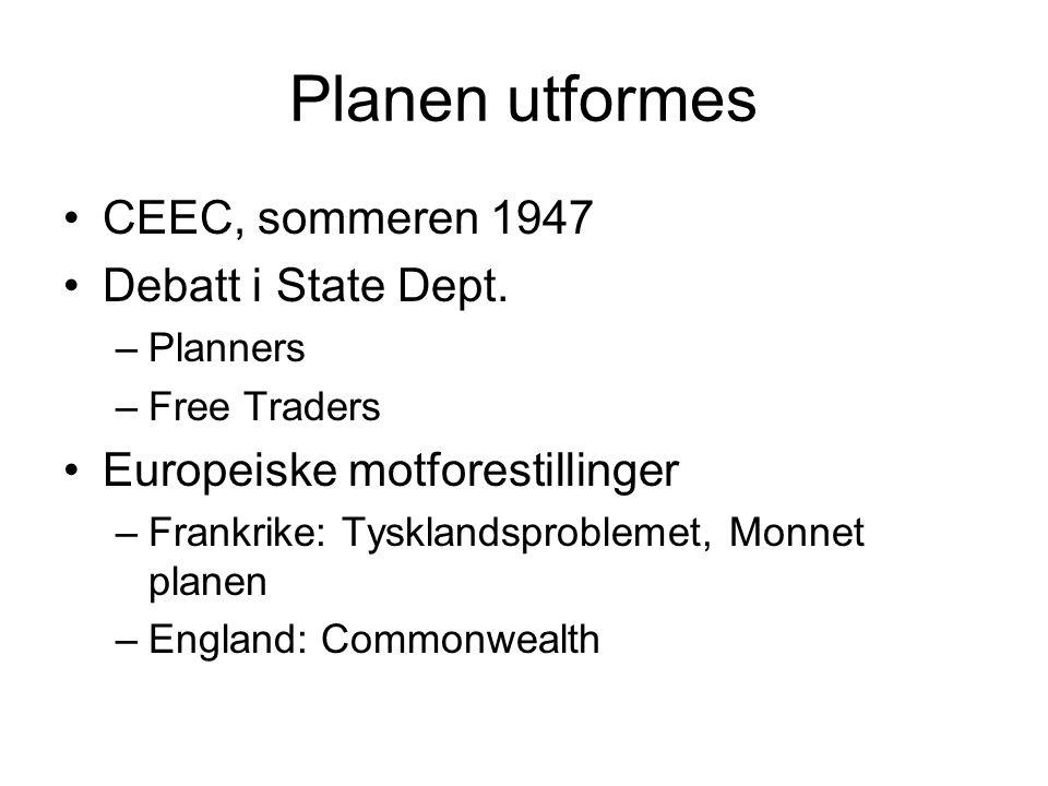 Planen utformes CEEC, sommeren 1947 Debatt i State Dept.