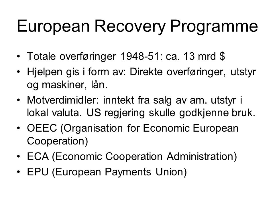 European Recovery Programme