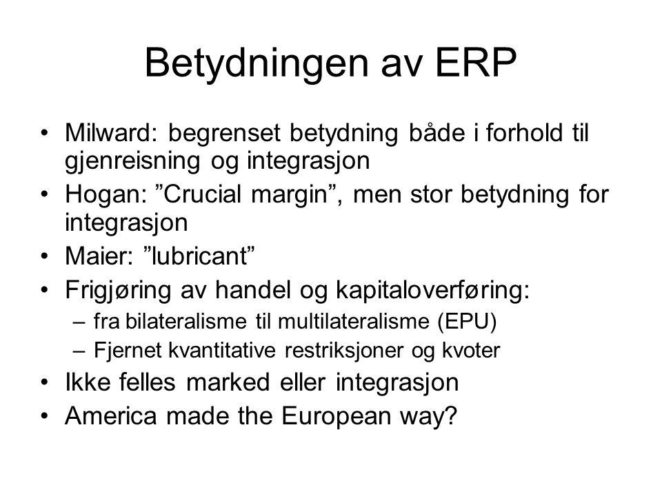 Betydningen av ERP Milward: begrenset betydning både i forhold til gjenreisning og integrasjon.