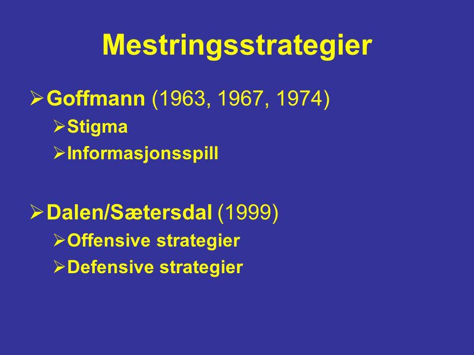 Mestringsstrategier Goffmann (1963, 1967, 1974) Dalen/Sætersdal (1999)