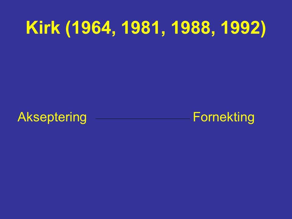 Kirk (1964, 1981, 1988, 1992) Akseptering Fornekting