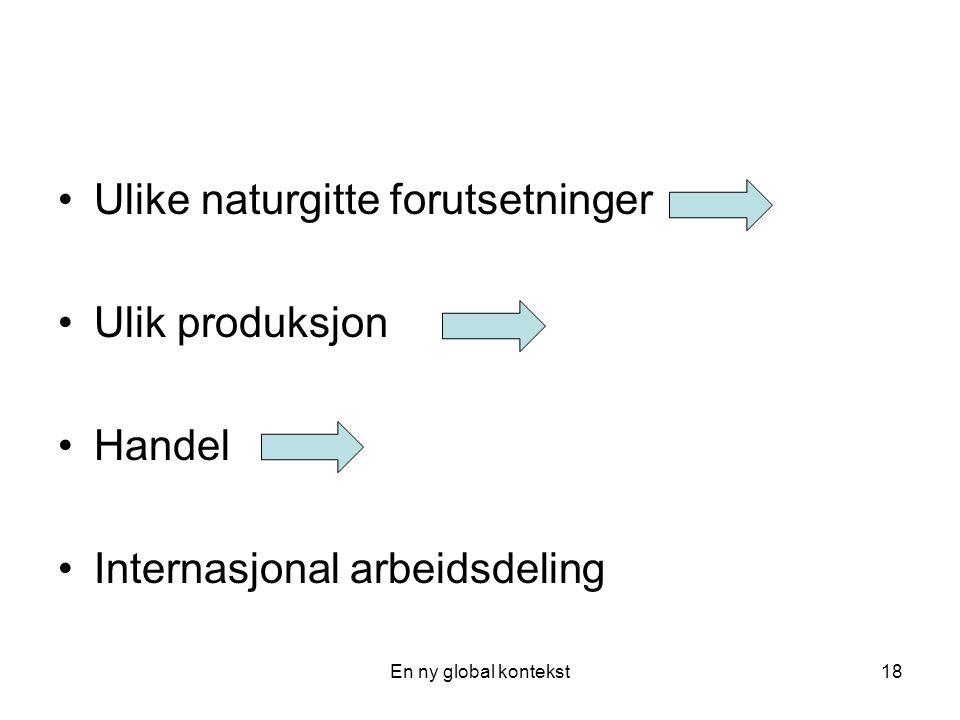 Ulike naturgitte forutsetninger Ulik produksjon Handel