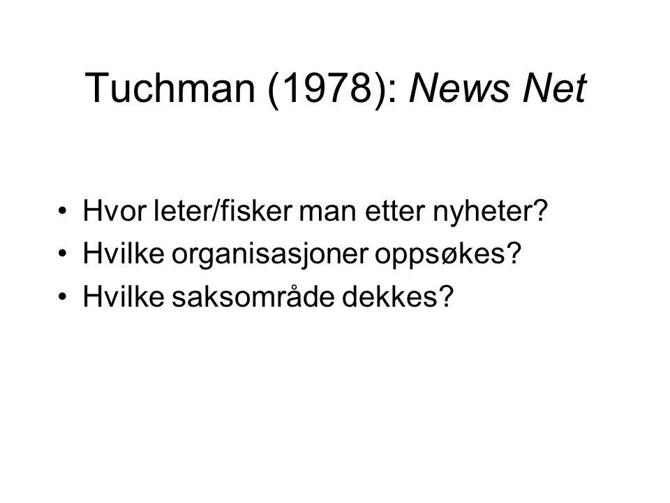Tuchman (1978): News Net Hvor leter/fisker man etter nyheter