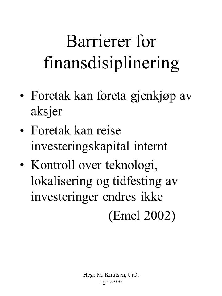 Barrierer for finansdisiplinering