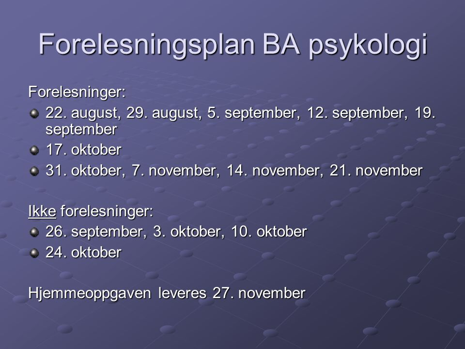 Forelesningsplan BA psykologi