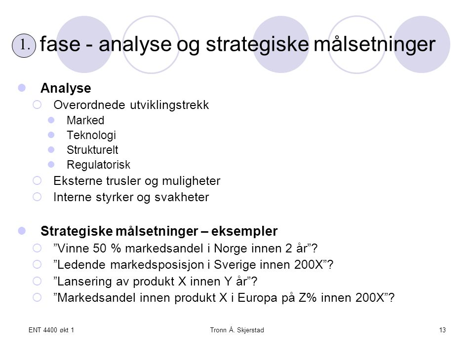fase - analyse og strategiske målsetninger