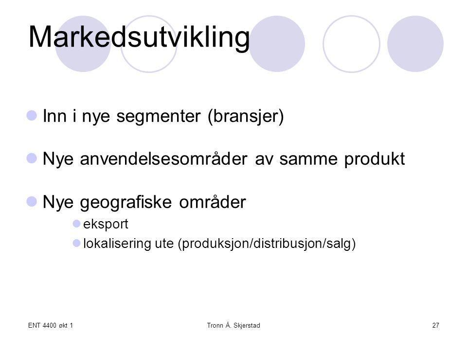 Markedsutvikling Inn i nye segmenter (bransjer)