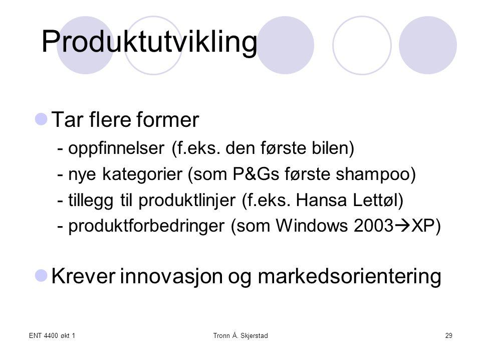 Produktutvikling Tar flere former