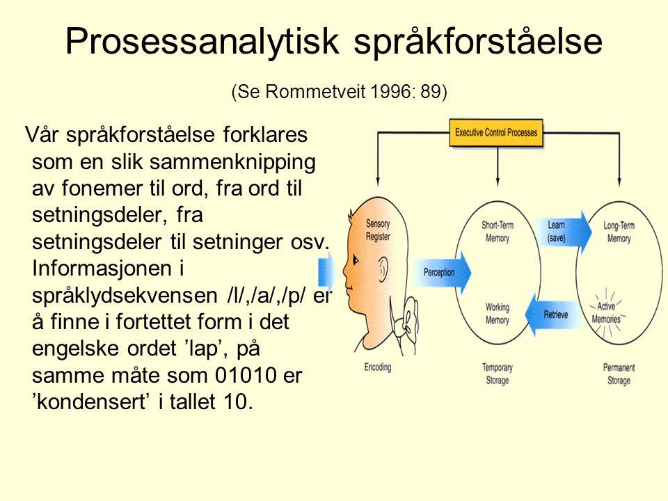 Prosessanalytisk språkforståelse (Se Rommetveit 1996: 89)