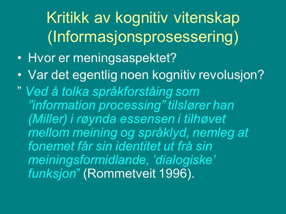 Kritikk av kognitiv vitenskap (Informasjonsprosessering)