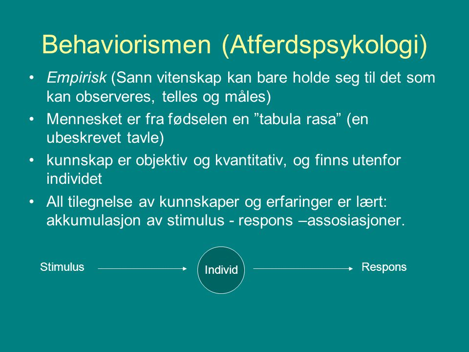 Behaviorismen (Atferdspsykologi)