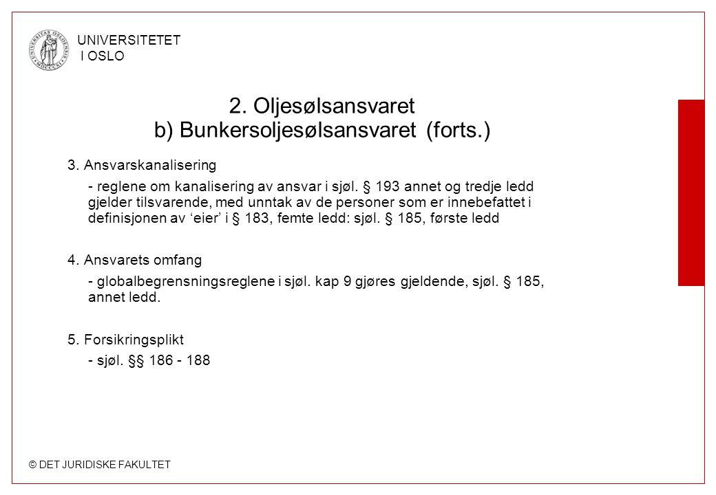 2. Oljesølsansvaret b) Bunkersoljesølsansvaret (forts.)