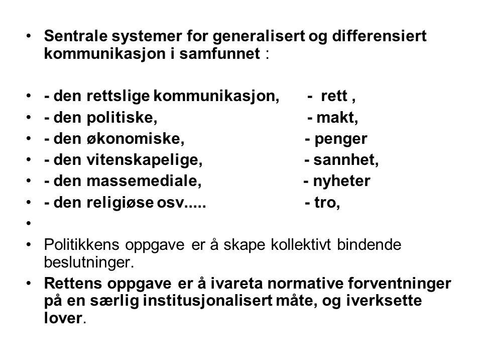 Sentrale systemer for generalisert og differensiert kommunikasjon i samfunnet :