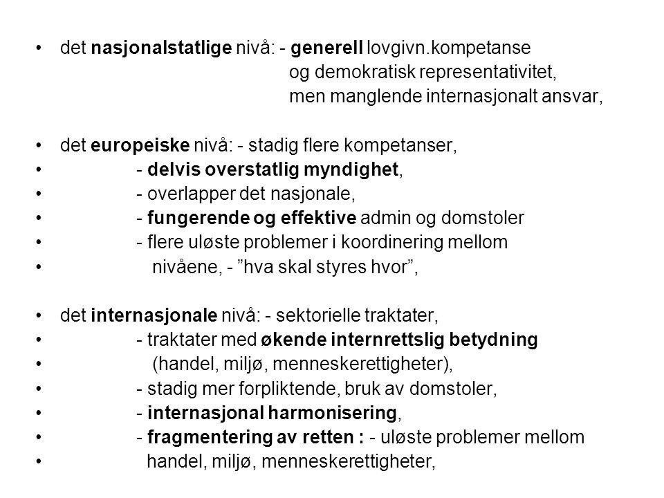 det nasjonalstatlige nivå: - generell lovgivn.kompetanse