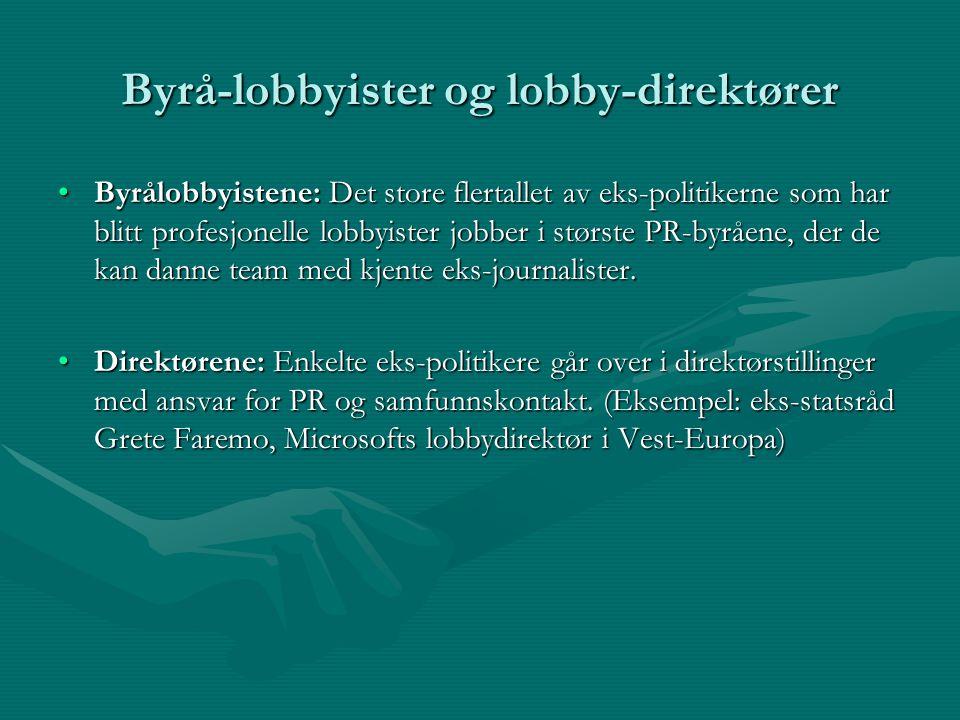Byrå-lobbyister og lobby-direktører