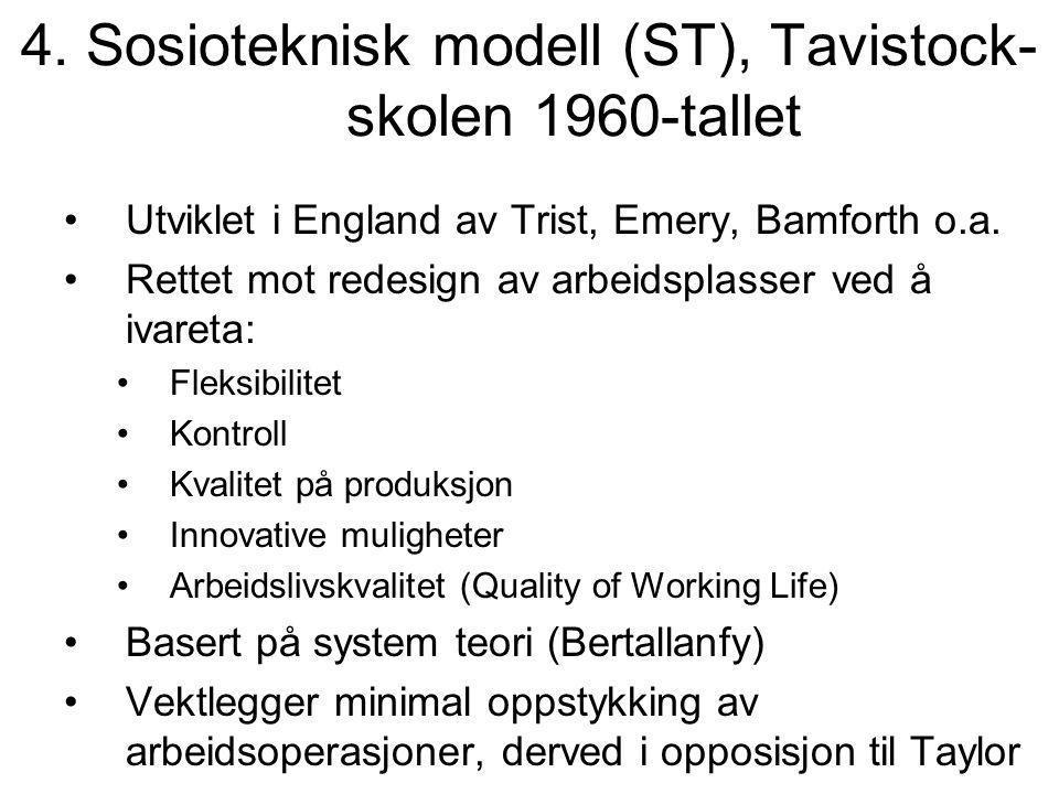 4. Sosioteknisk modell (ST), Tavistock-skolen 1960-tallet